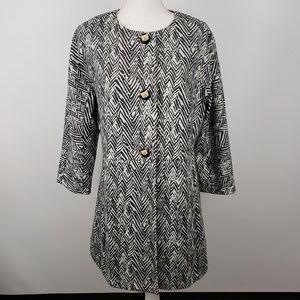 Cabi zig zag ponte knit trench coat jacket sz XL